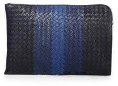 Bottega Veneta Striped Woven Leather Pouch
