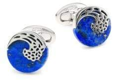 Jan Leslie Lapis & Sterling Silver Laser Wave Cufflinks