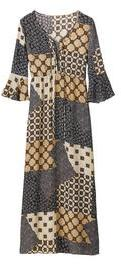 Alice & You Alice And You Patchwork Print Lace Up Maxi Dress With Bell Sleeves