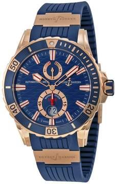 Ulysse Nardin Maxi Marine Diver Blue Dial 18kt Rose Gold Men's Watch 266-10-3-93