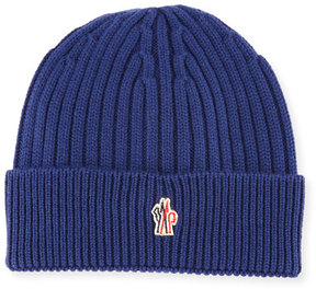 Moncler Ribbed Wool Logo Beanie Hat