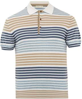 Etro Striped cotton and cashmere polo shirt