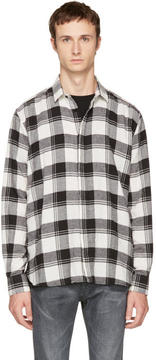 Saint Laurent White and Black Check Shirt