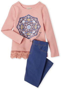 Lucky Brand Girls 4-6x) Two-Piece Crochet Trim Top & Jeggings Set