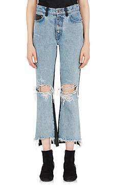 Amiri Women's Denim & Leather Crop Jeans