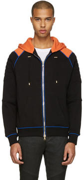 Balmain Black and Orange Panelled Hoodie