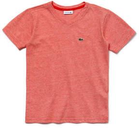 Lacoste Boy's Striped Cotton V-neck T-Shirt