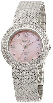 Burgi Silver-Tone Brass Pink Mother of Pearl Diamond Dial Ladies Watch