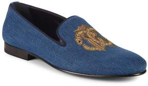 Roberto Cavalli Men's Embroidered Leather Loafers