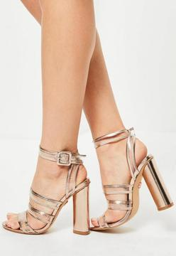 Missguided Rose Gold Clear Multi Strap Block Heeled Sandals