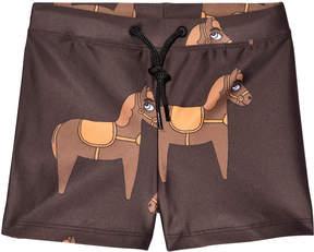 Mini Rodini Brown Horse Swim Trunks