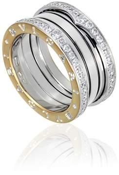 Bvlgari B.Zero1 18K White Gold 4-Band Diamond Pave Ring Size 7.75