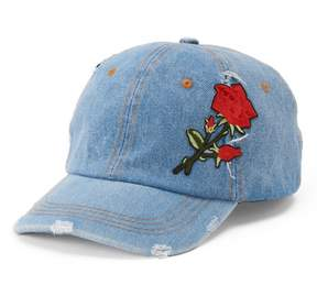 Mudd Women's Rose Applique Denim Baseball Cap