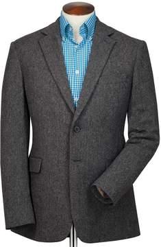 Charles Tyrwhitt Slim Fit Charcoal Herringbone Wool Wool Jacket Size 42