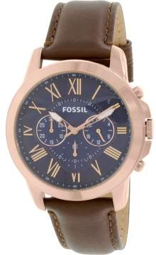 Fossil Men's FS5068 Grant Leather Watch, 44mm