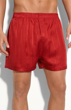 Majestic International Men's Herringbone Stripe Silk Boxer Shorts