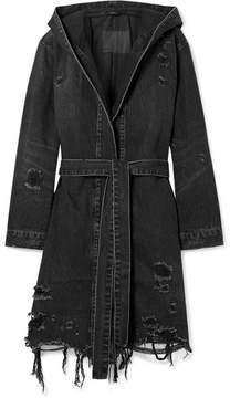 Alexander Wang Hooded Distressed Denim Jacket - Dark gray