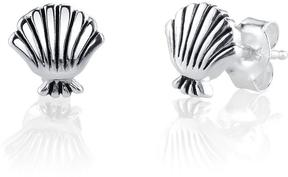 Disney Sterling Silver Little Mermaid Sea Shell Stud Earrings