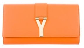 Saint Laurent Chyc Clutch - ORANGE - STYLE