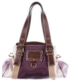 Marc Jacobs Leather-Trimmed Satin Bag - PURPLE - STYLE