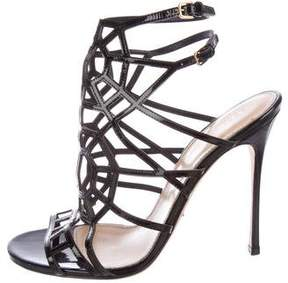 Sergio Rossi Patent Leather Cage Sandals