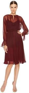 Jil Sander Navy Silk Crepe Dress with Drawstring Waist