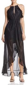 Astr Arielle Metallic Maxi Dress