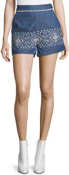 J.o.a. Embroidered High-Waist Chambray Shorts