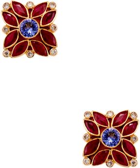 Amrapali Women's 18K Yellow Gold, 0.33 Total Ct. Diamond, Tanzanite & Ruby Marigold Earrings