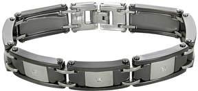 JCPenney FINE JEWELRY Mens Stainless Steel & Ceramic Cubic Zirconia Bracelet