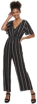 Speechless Juniors' Flutter Sleeve Striped Jumpsuit