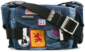 DSQUARED2 patched denim Postman bag