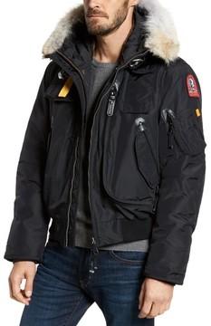 Parajumpers Men's Slim Down Bomber Jacket With Faux Fur & Genuine Coyote Fur Trim
