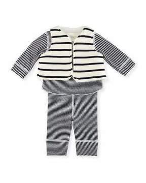 Petit Bateau Long-Sleeve Striped Layette Set, Size 1-18 Months
