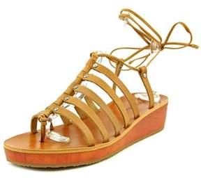 Lucky Brand Hulumi Women Open Toe Leather Brown Gladiator Sandal.