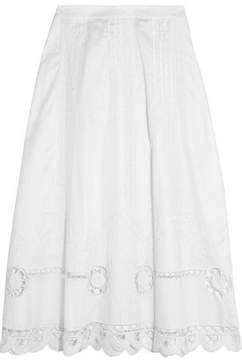 Temperley London Bellanca Embroidered Cotton-Poplin Midi Skirt