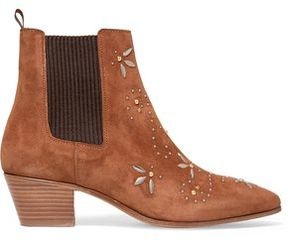 Maje Studded Suede Ankle Boots