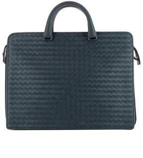 Bottega Veneta Men's Blue Leather Briefcase.