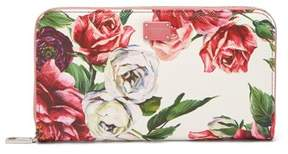 Dolce & Gabbana Rose Print Leather Continental Wallet - Womens - Pink White