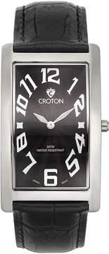 Croton Mens Black And Silvertone Rectangular Strap Watches