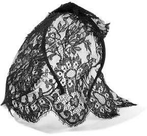 Maison Michel Tina Lace Veiled Headband - Black