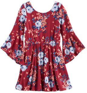 My Michelle Girls 7-16 Floral Trumpet Sleeve Dress