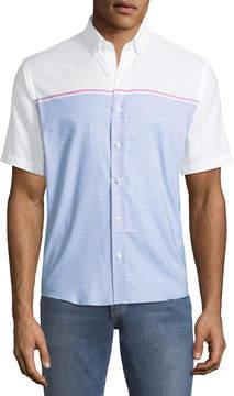 Neiman Marcus Slim-Fit Engineer-Striped Short-Sleeve Sport Shirt, Blue/White
