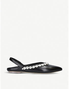 Simone Rocha Embellished leather pointed-toe flats