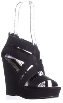 Material Girl Mg35 Maxel Platform Strappy Sandals, Black.