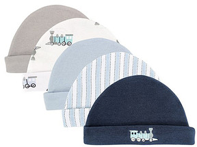 Luvable Friends Navy & White Train Beanie Set - Newborn