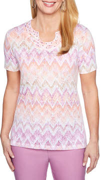 Alfred Dunner Los Cabos Short Sleeve Round Neck T-Shirt-Womens