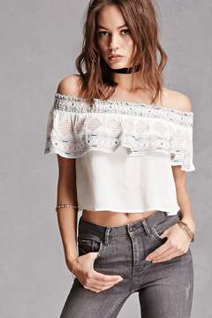 Forever 21 Embroidered Flounce Crop Top