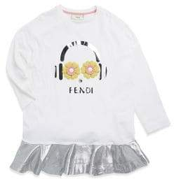 Fendi Little Girl's and Girl's Applique Cotton Dress