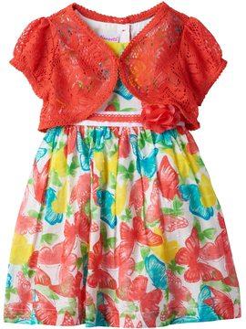 Nannette Toddler Girl Short Sleeve Crochet Lace Shrug & Swiss Dot Butterfly Dress